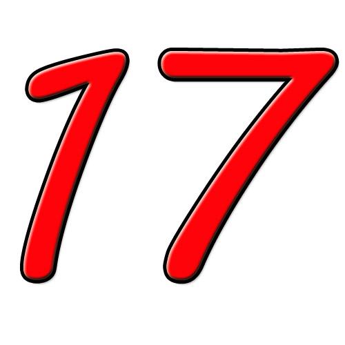 17 dezessete; dezassete* (Port.) / diecisiete